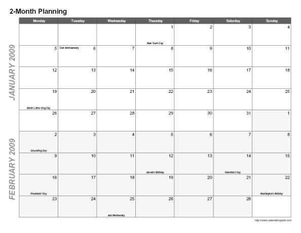 post 2 month calendar printable 166361
