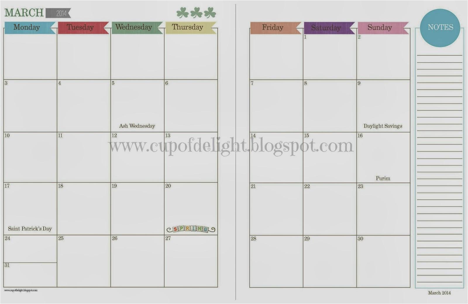 free printable calendar 2 page planner templates