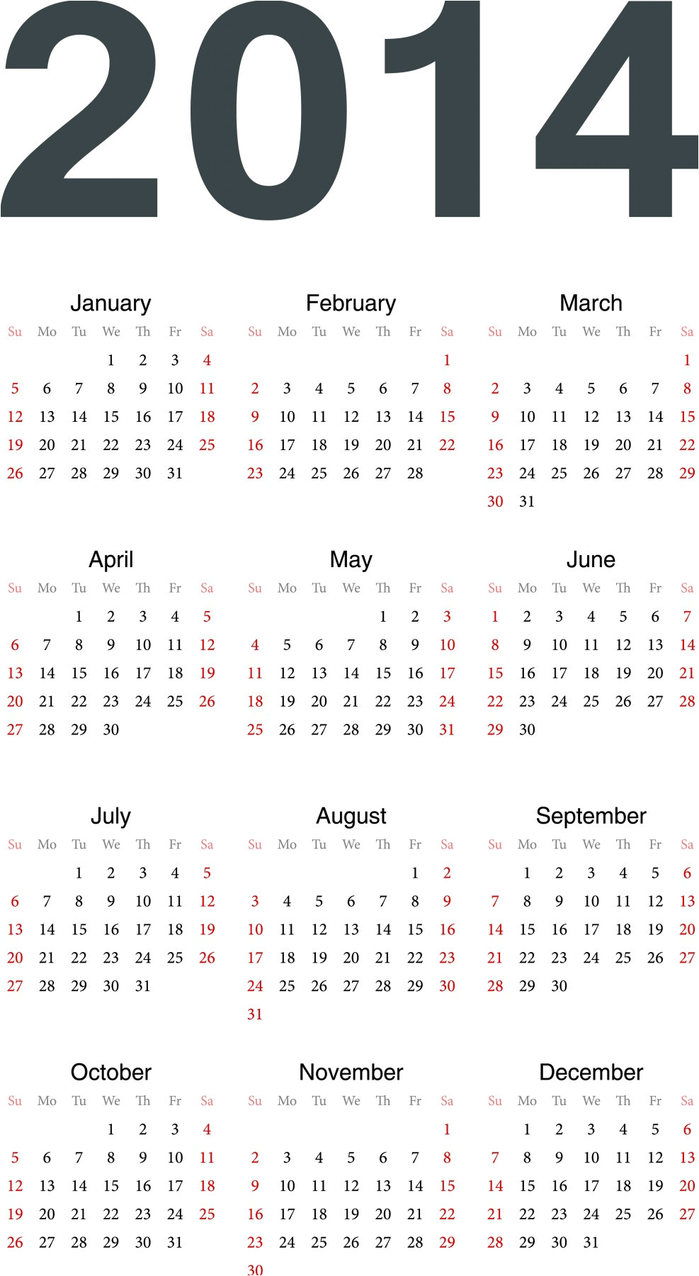 post 2014 calendar 12 months on one page printable 72371