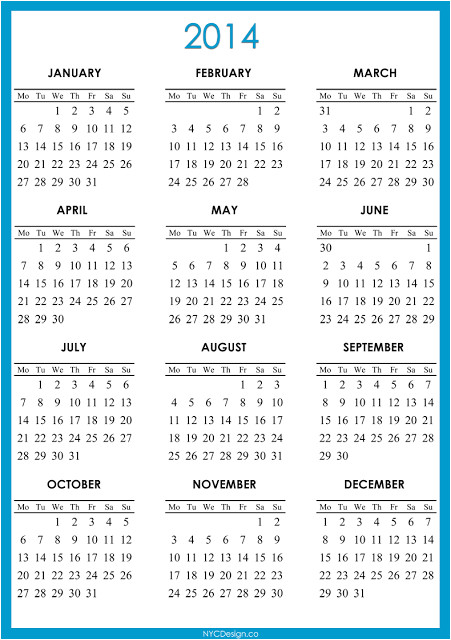 post free printable annual calendar 2014 354631