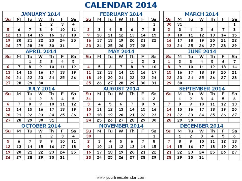 post 2014 printable calendar all months 166211