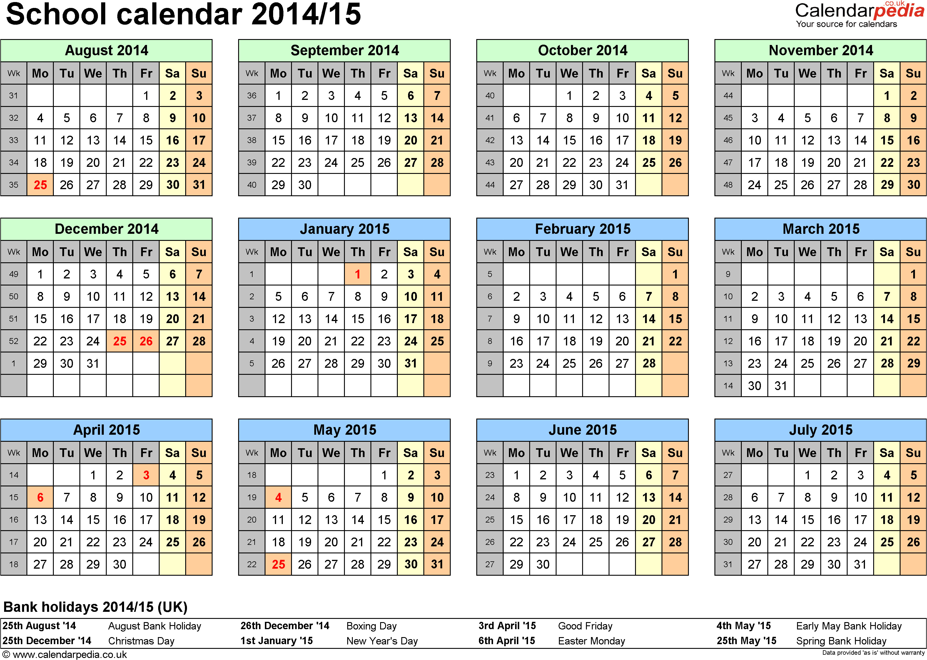 2014 15 Academic Calendar Template 6 Best Images Of Printable School Calendar 2014 2015
