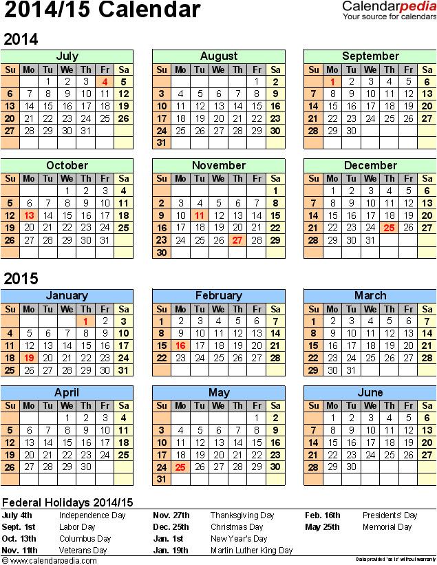 academic calendar 2014 15 template 2014 excel calendar