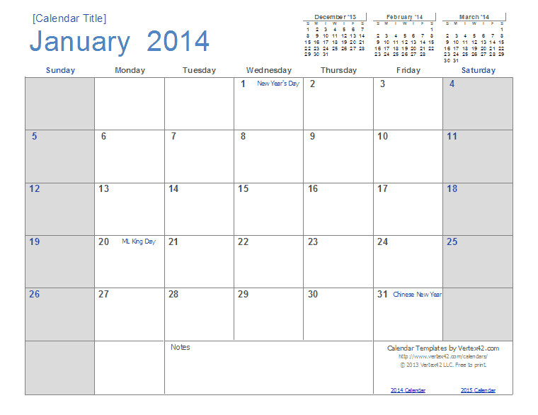 2014 yearly calendar template excel australia