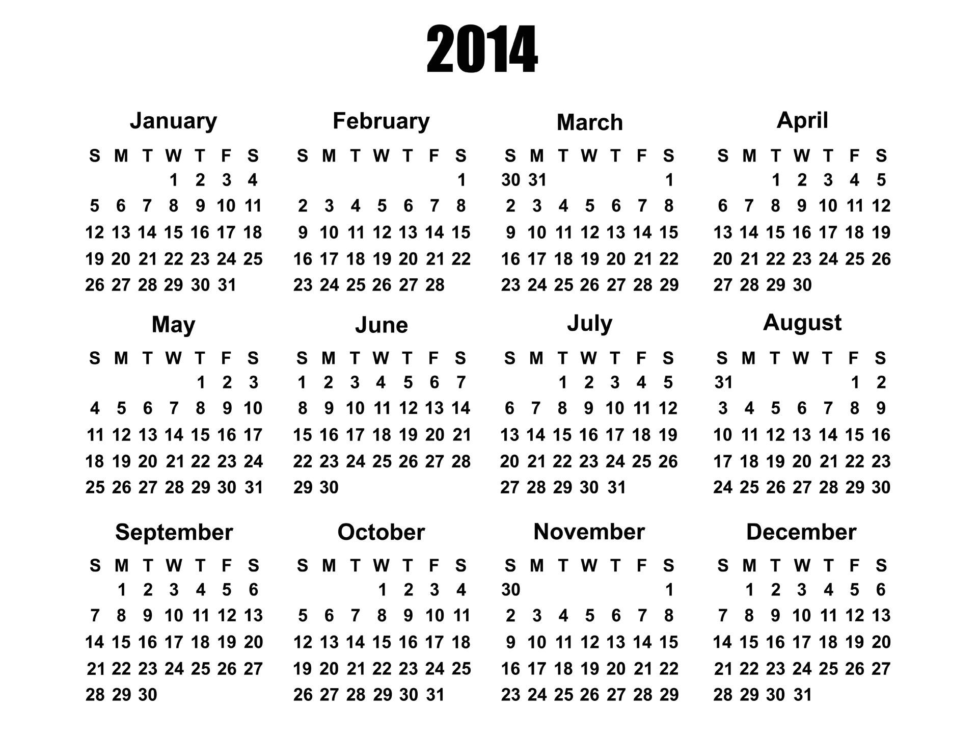 2014 calendar 1237
