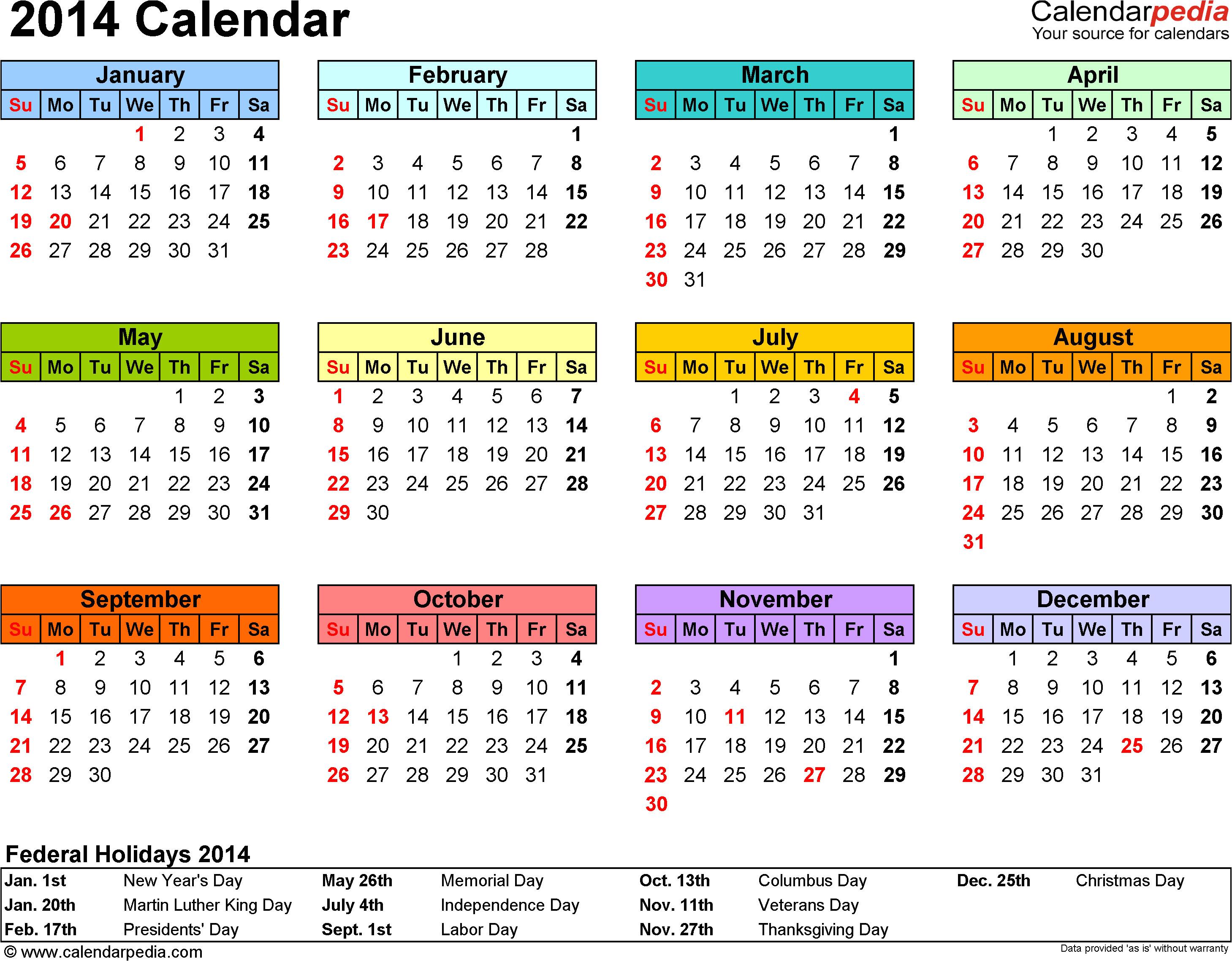 2014 calendar pdf templates
