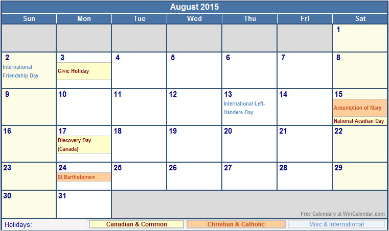 2015 calendar template with canadian holidays august 2015 canada calendar with holidays for printing image format