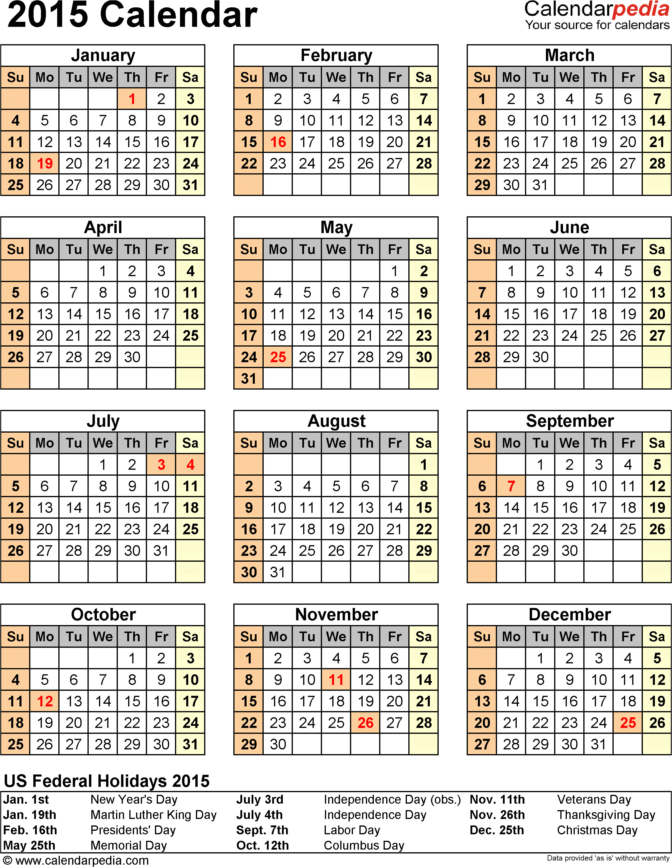 2015 Calendar Template with Canadian Holidays 2015 Calendar with Federal Holidays Excel Pdf Word Templates