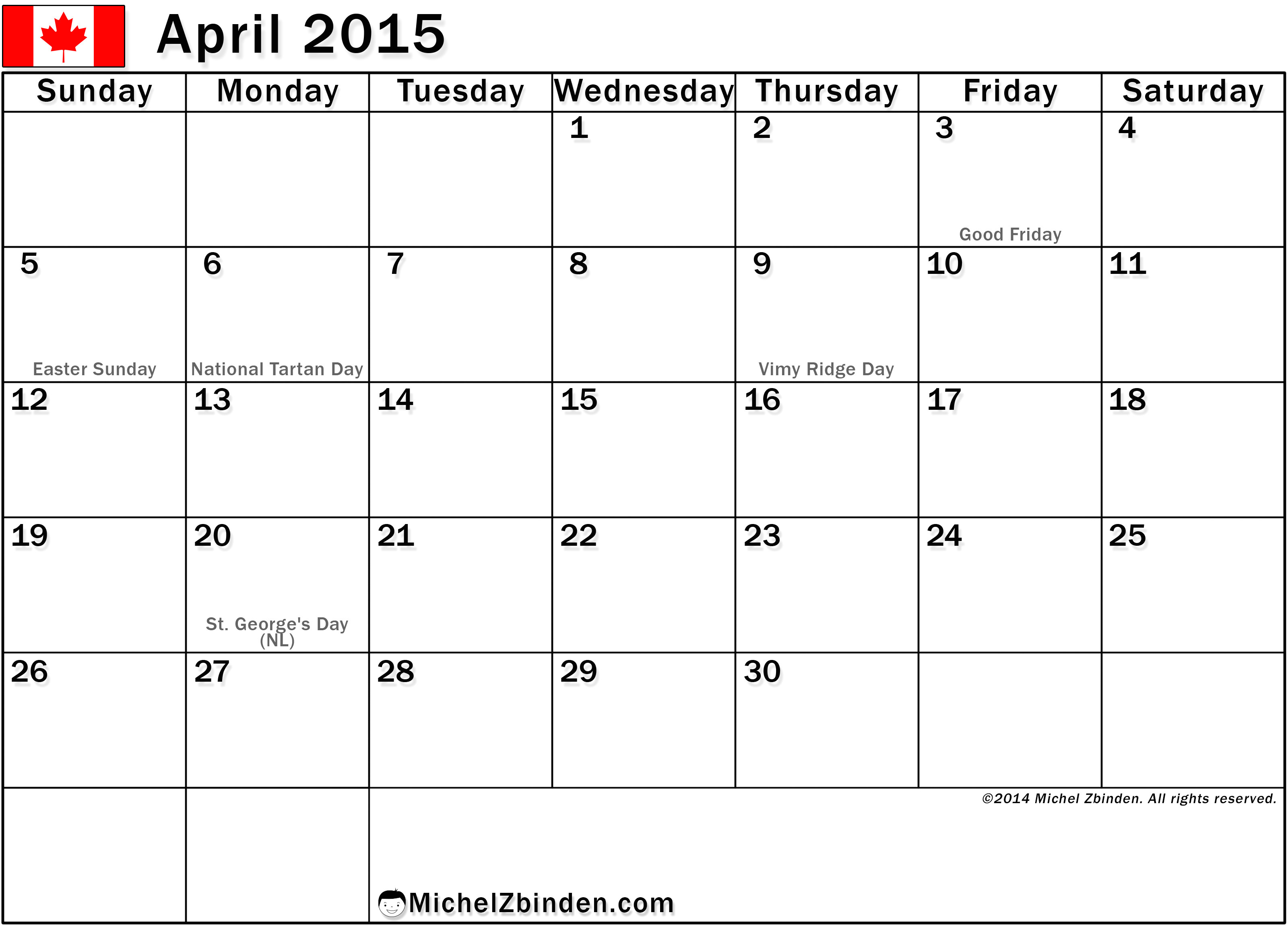 2015 Calendar Template with Canadian Holidays April 2015 Holidays Www Imgkid Com the Image Kid Has It