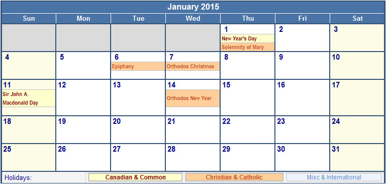 2015 Calendar Template with Canadian Holidays January 2015 Canada Calendar with Holidays for Printing