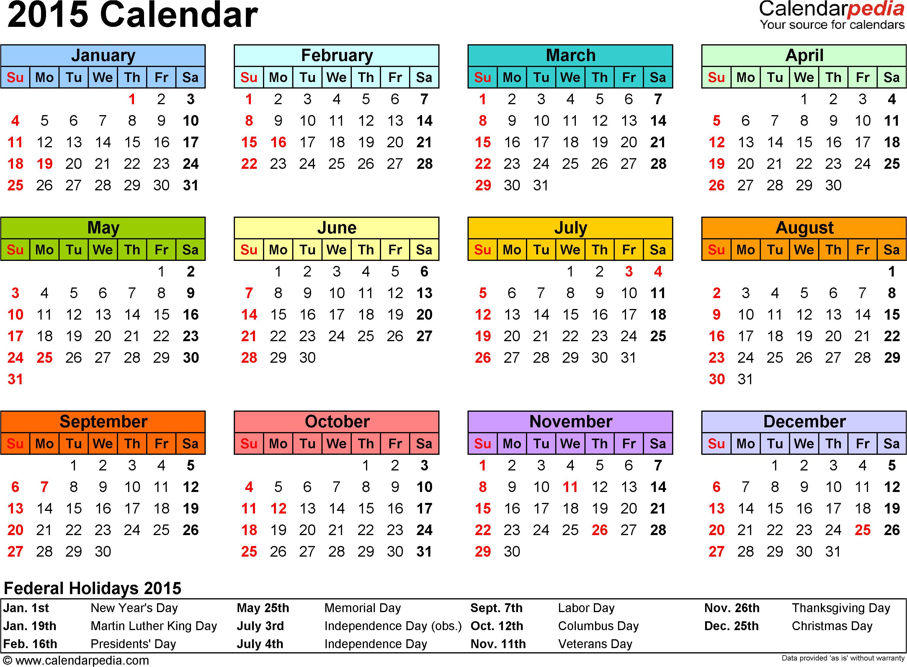 2015 calendar word templates