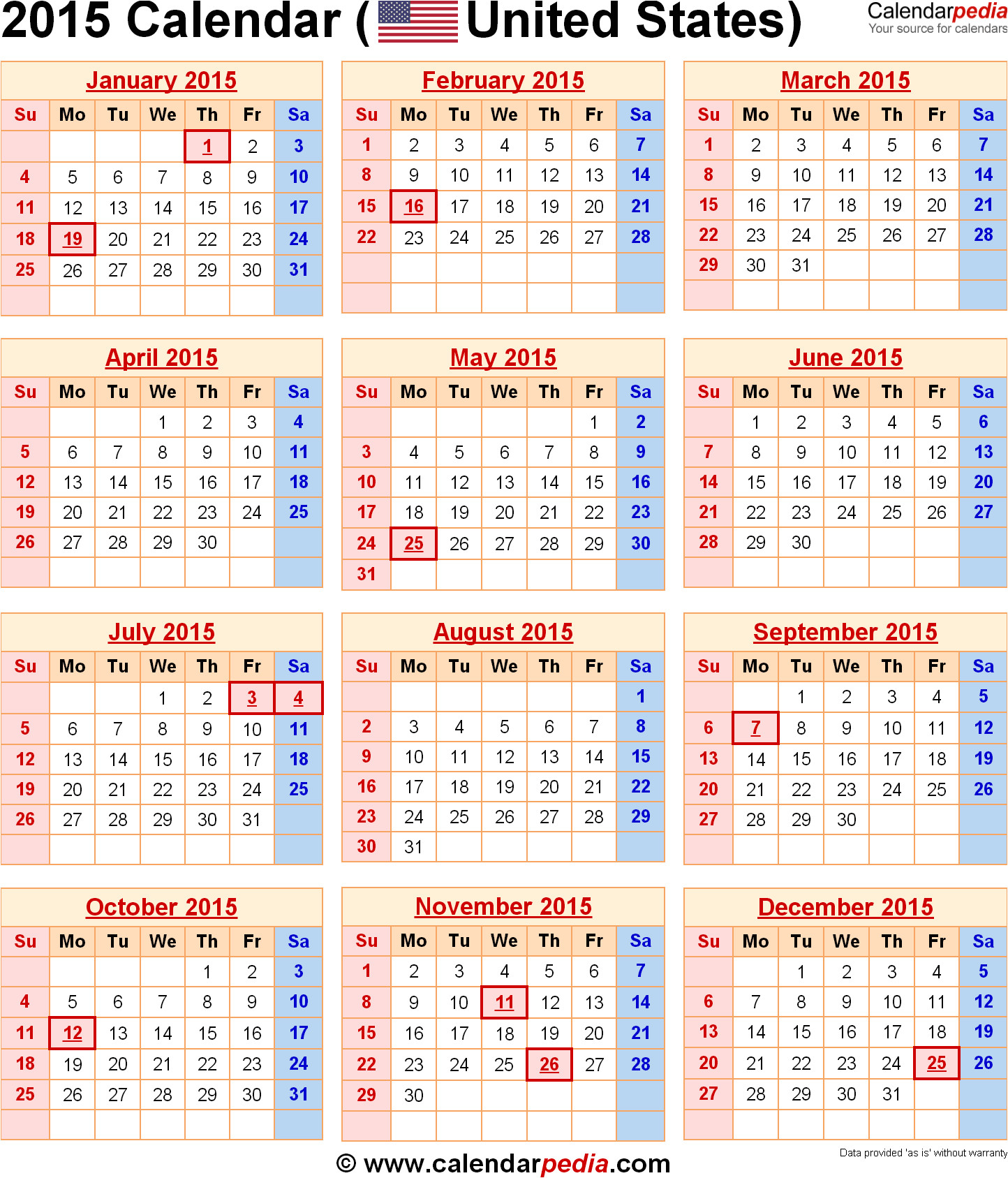 2015 calendar printable with holidays