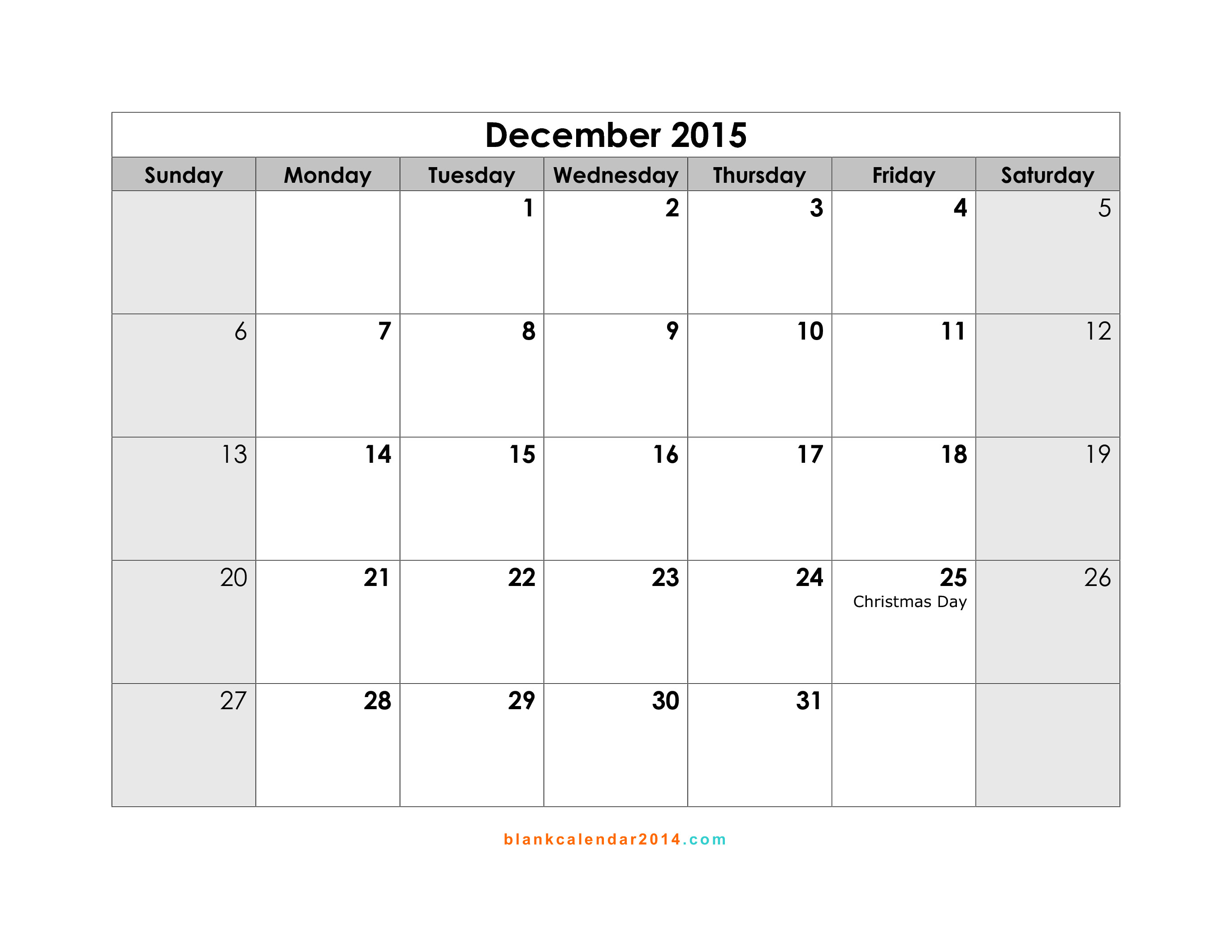 2015 calendar template with holidays