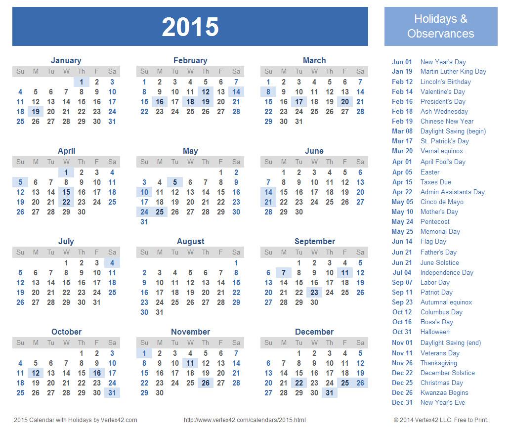 download 2015 calendar