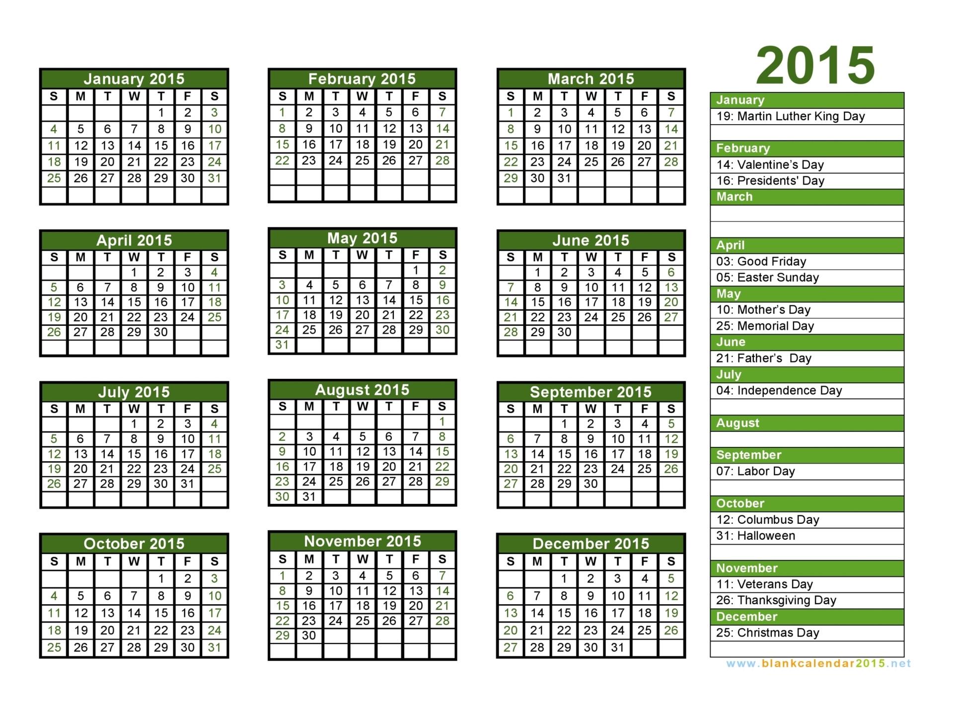print 2015 calendar free