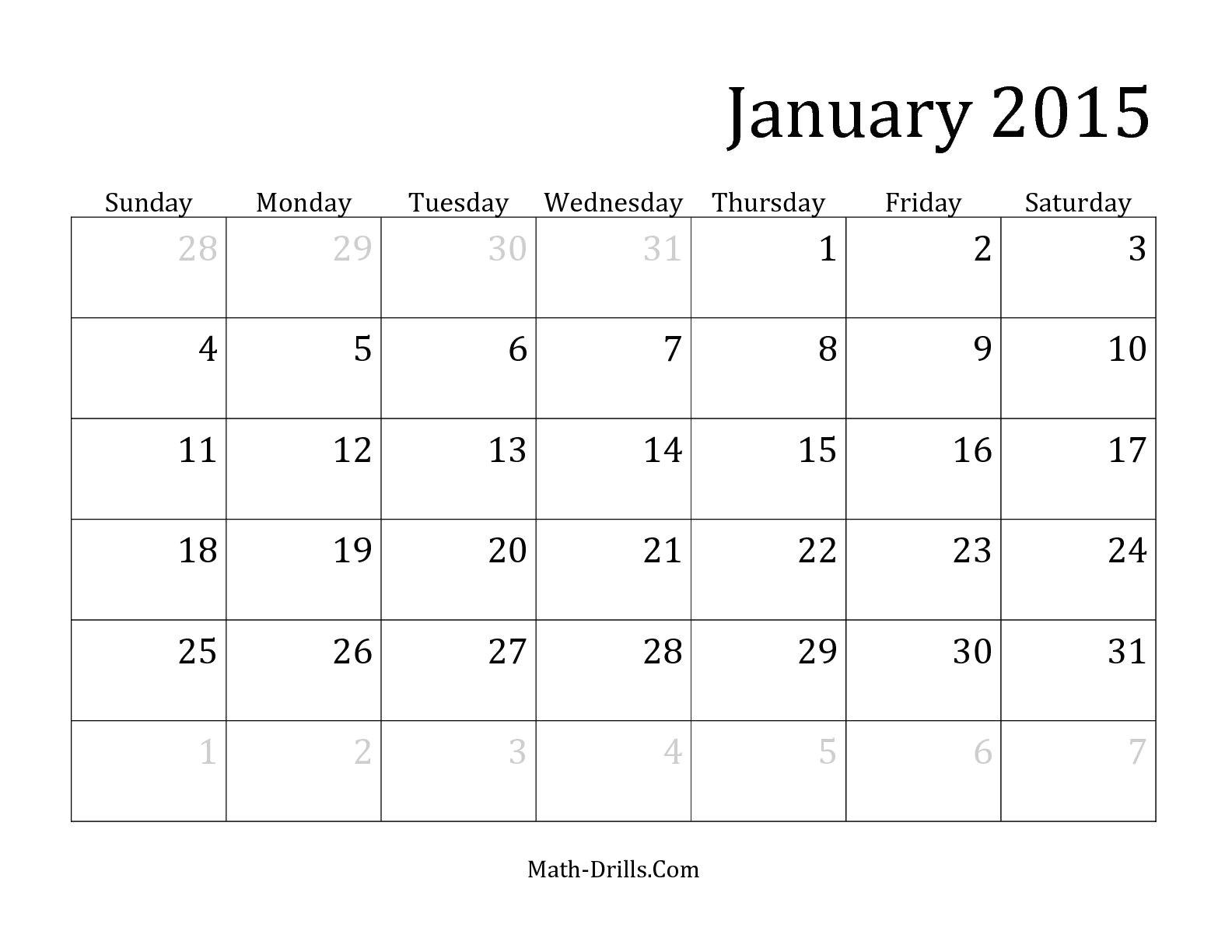 word calendar template 2015