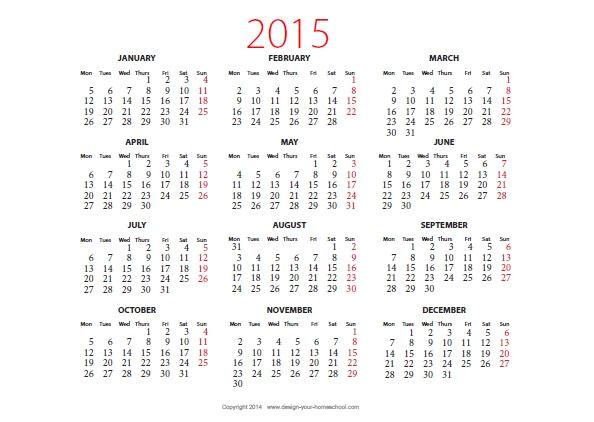 2015 calendar printable landscape