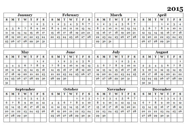 2015 Yearly Calendar Template In Landscape format 2015 Yearly Calendar Template 09 Free Printable Templates