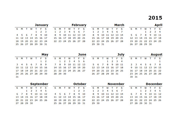 2015 Yearly Calendar Template In Landscape format 2015 Yearly Calendar Template 10 Free Printable Templates