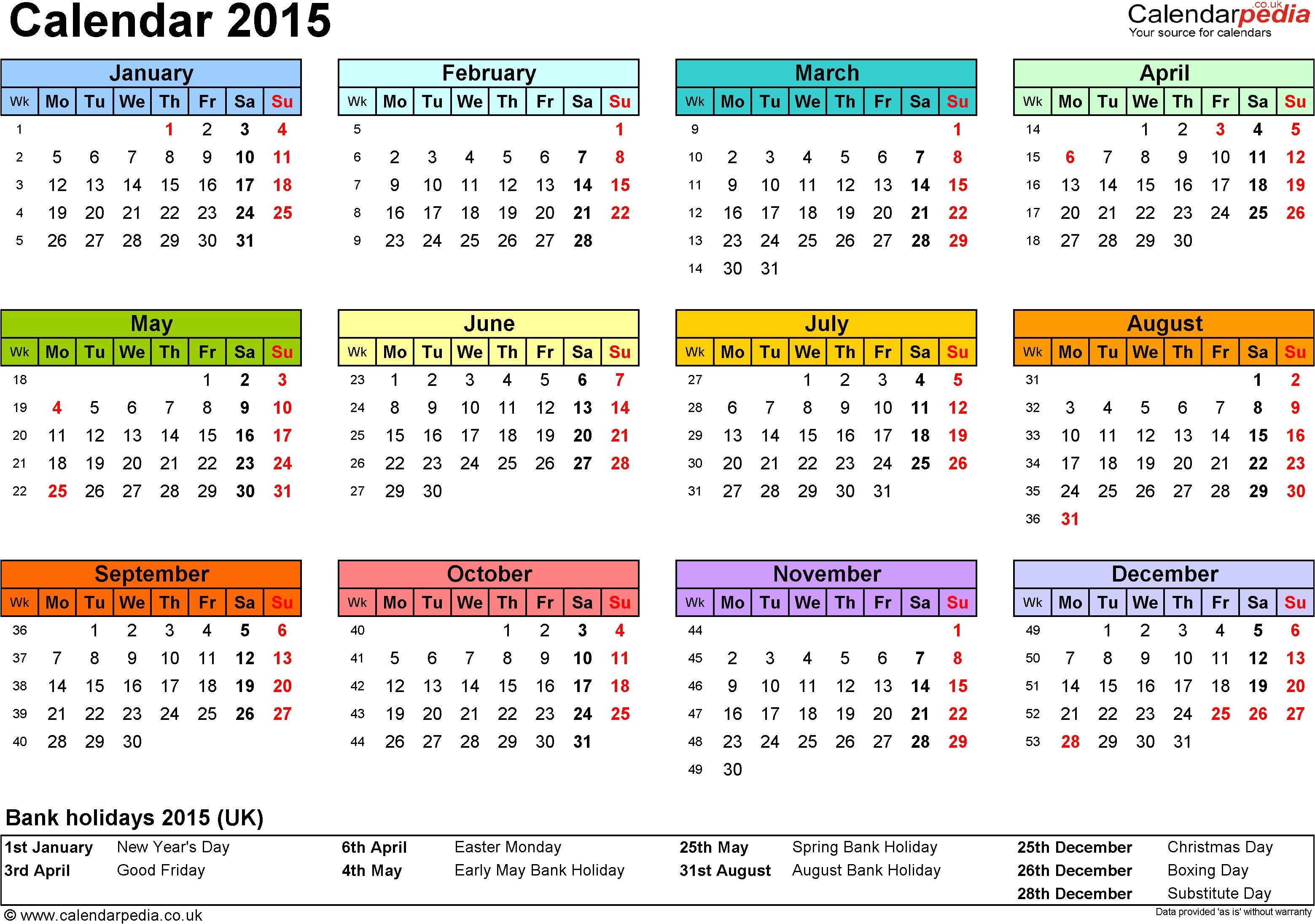 calendar 2015 excel templates