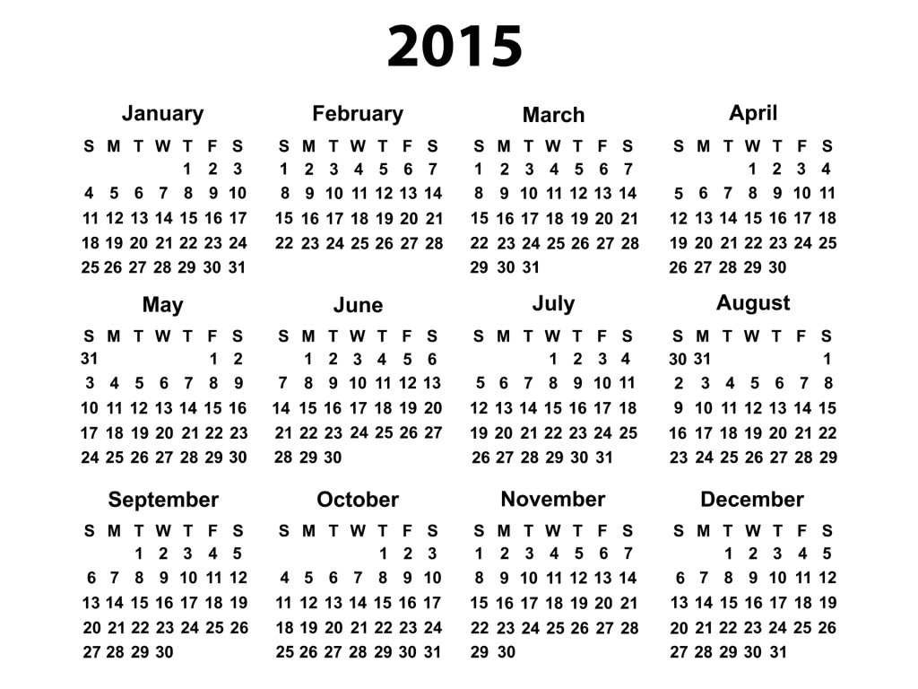 free printable yearly calendar 2015