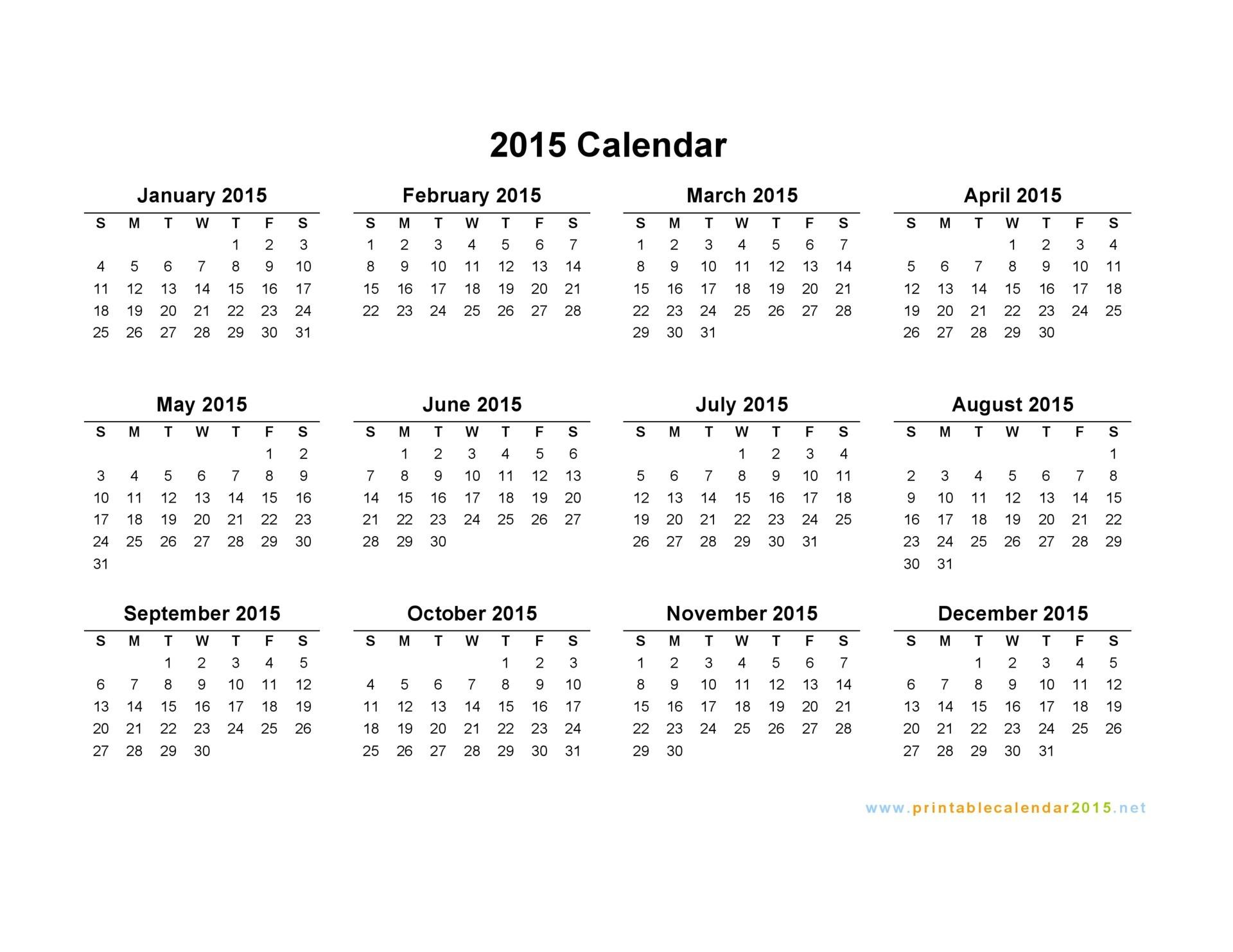 printable yearly calendar 2015