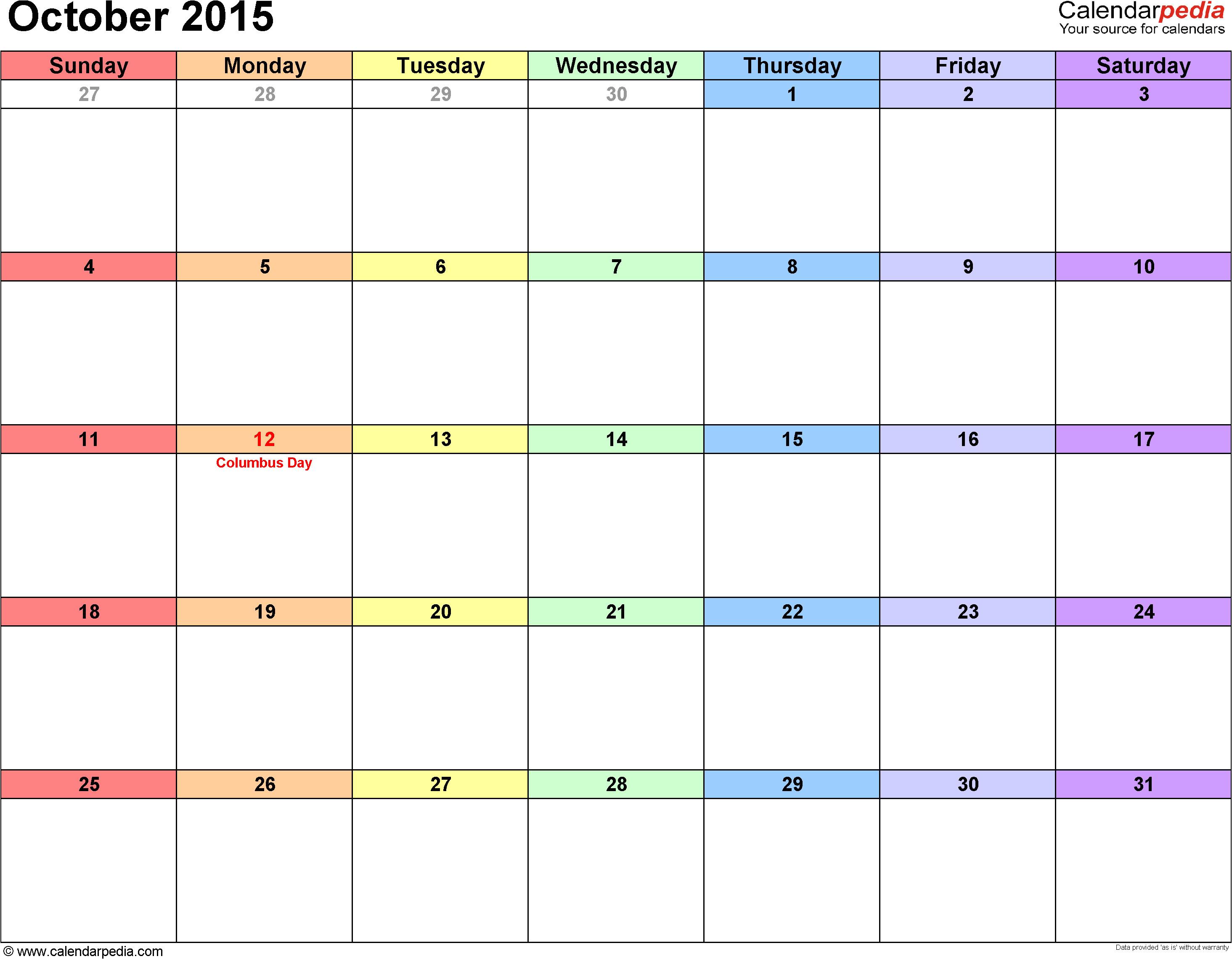 2104 Calendar Template Calendar October 2015