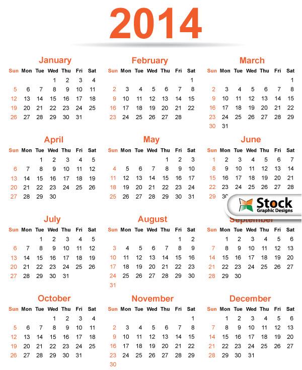 simple classy template 2014 calendar