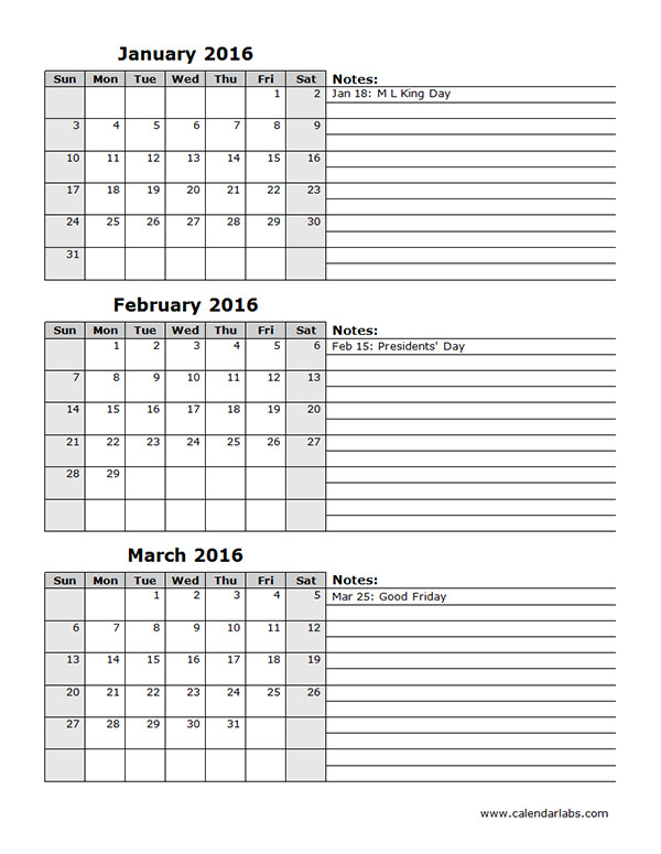 printable 3 month calendar 2016