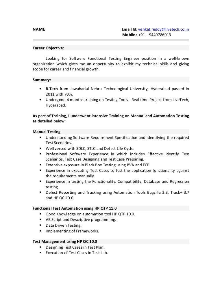 sample resume for 3 years experience in manual testing