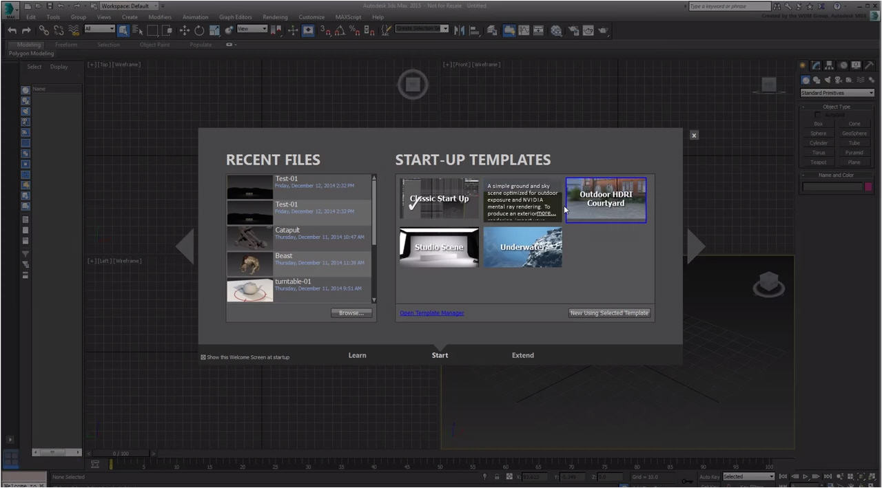 using start templates 3ds max 2015 extension 2