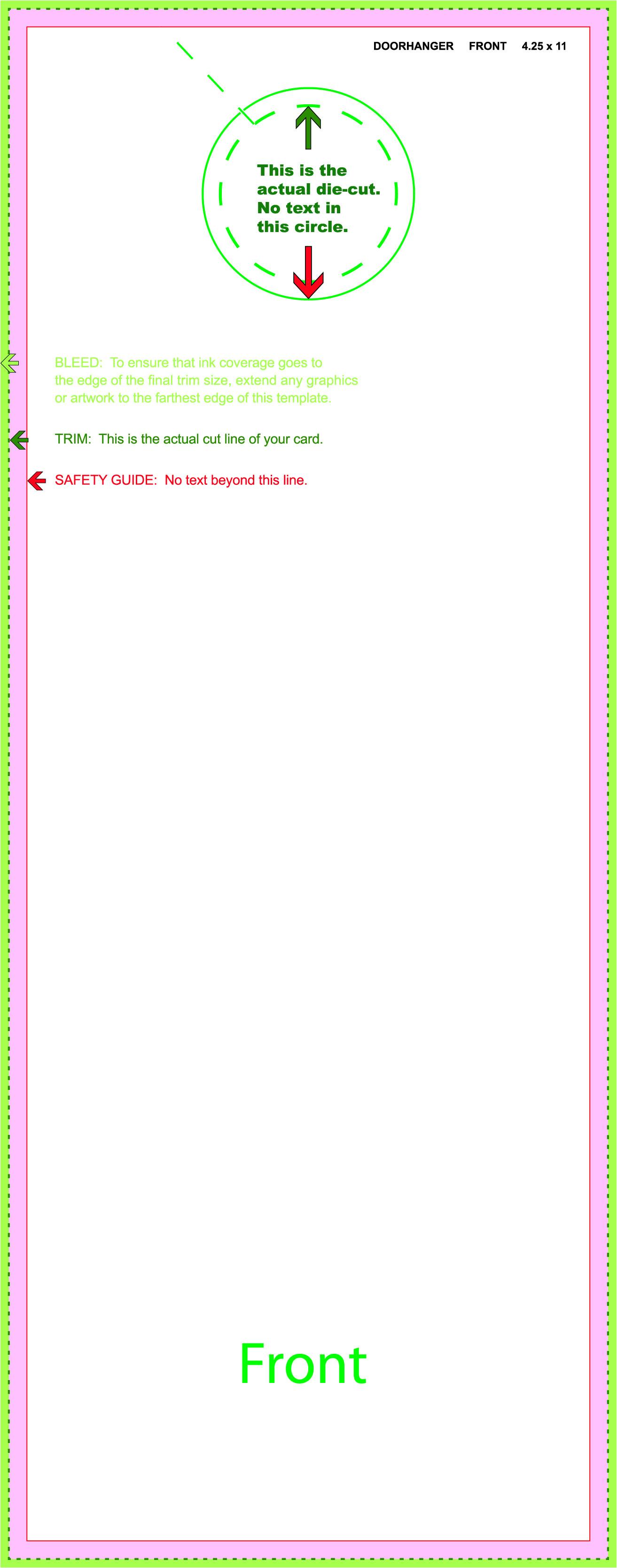 4.25 X 11 Door Hanger Template Business Card Printing Template Business Card Sample
