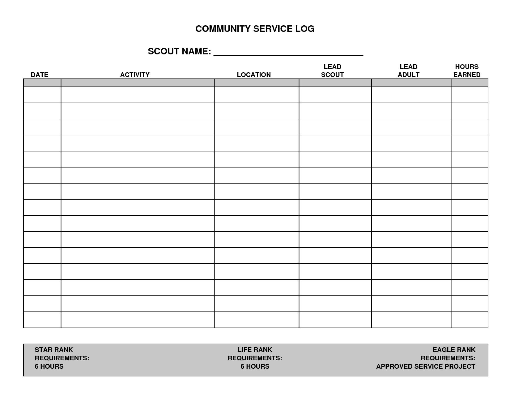 community service timesheet template