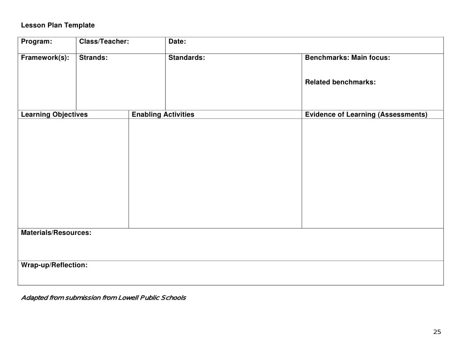 kud lesson plan template