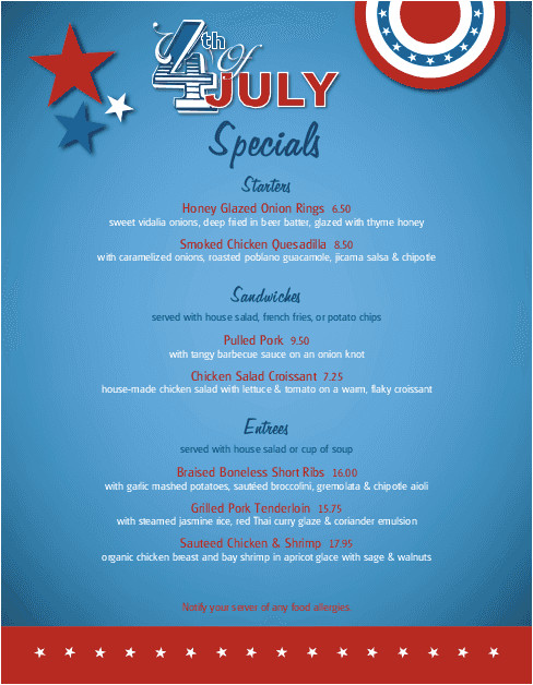 4th Of July Menu Template July 4th Celebration Specials Menu 4th Of July Menus