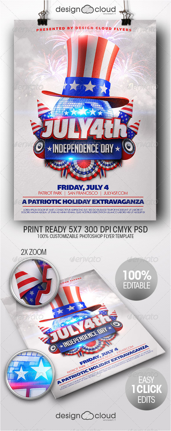 4th Of July Menu Template July 4th Independence Day Flyer Template by Design Cloud