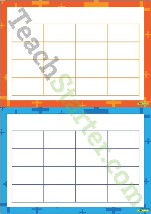 4x4 bingo board templates plus pattern