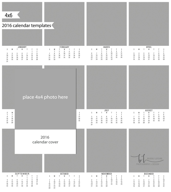 4×6 Calendar Template 2016 4×6 Calendar Calendar Template Photography by