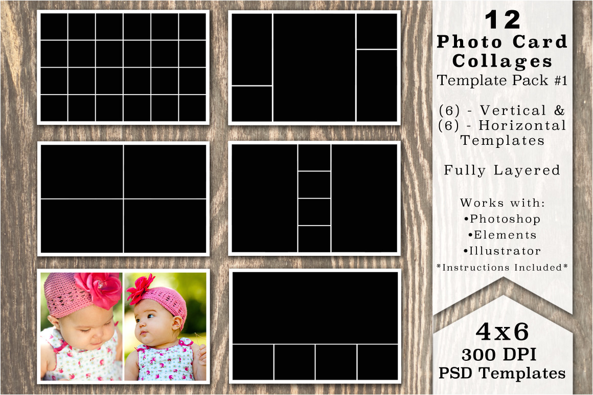 337862 4x6 photo card collage template pack