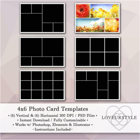 4x6 photo template pack 12 photo card