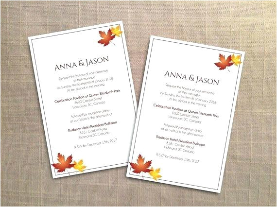 printable wedding invitation card template editable ms word file 4 x 6 instant download red orange fall leaves free 4x6
