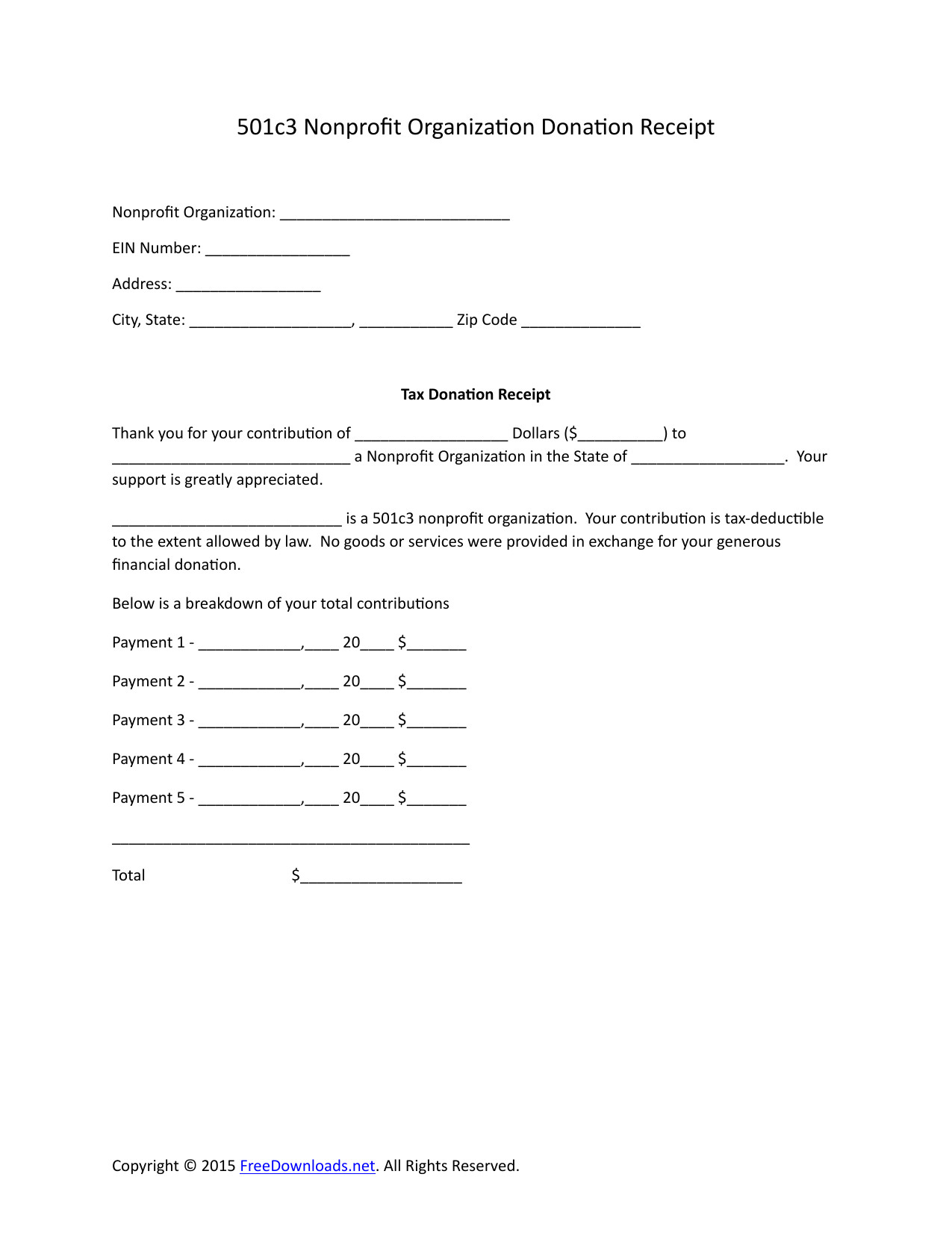 501c3 donation receipt letter for tax purposes