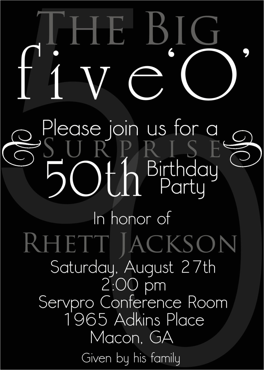 the 50th birthday invitation template free templates
