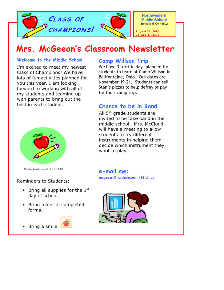 5th grade newsletter template