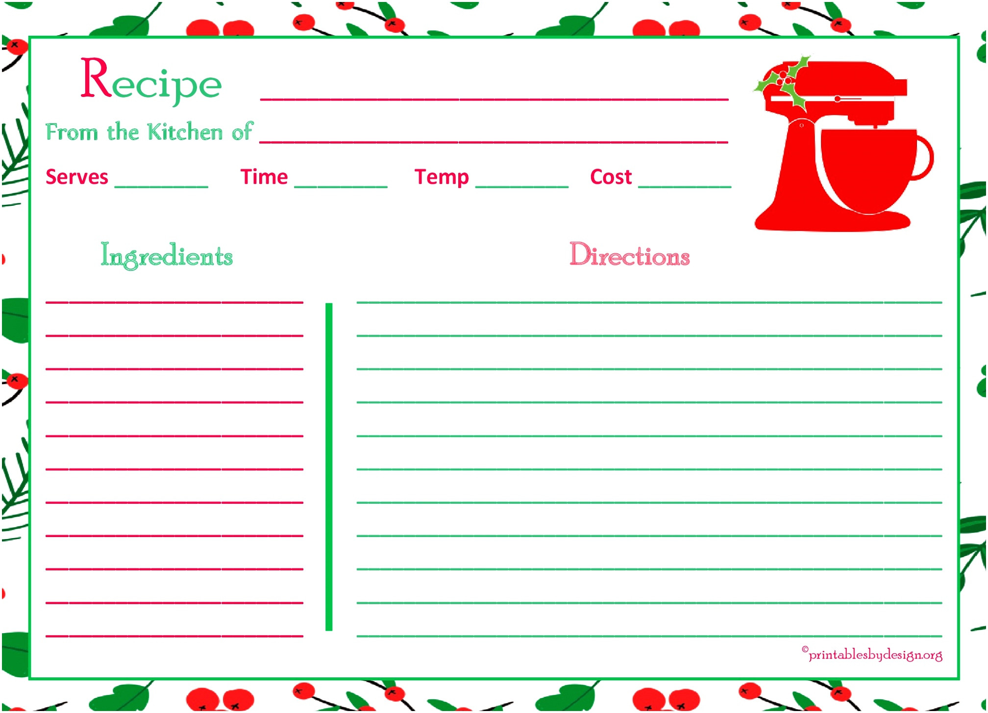5x7 recipe card template