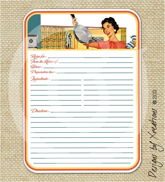 retro blank recipe card digital template