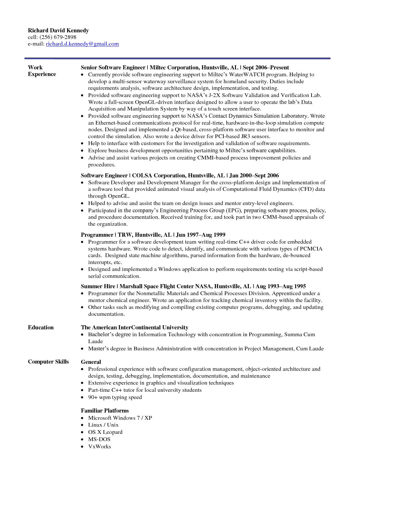 6 months experience resume sample software engineer