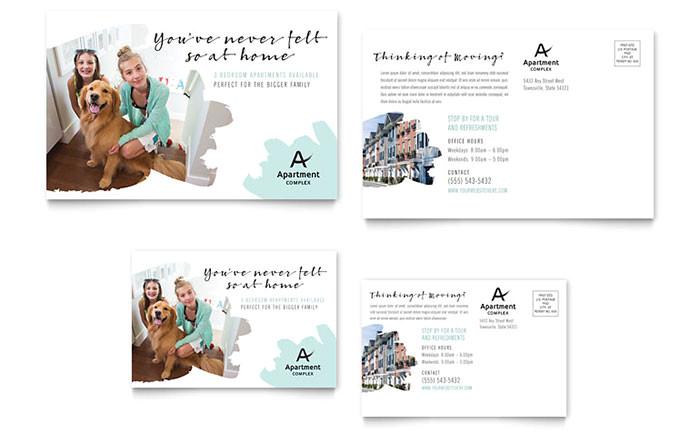 apartment postcard template design re0250201