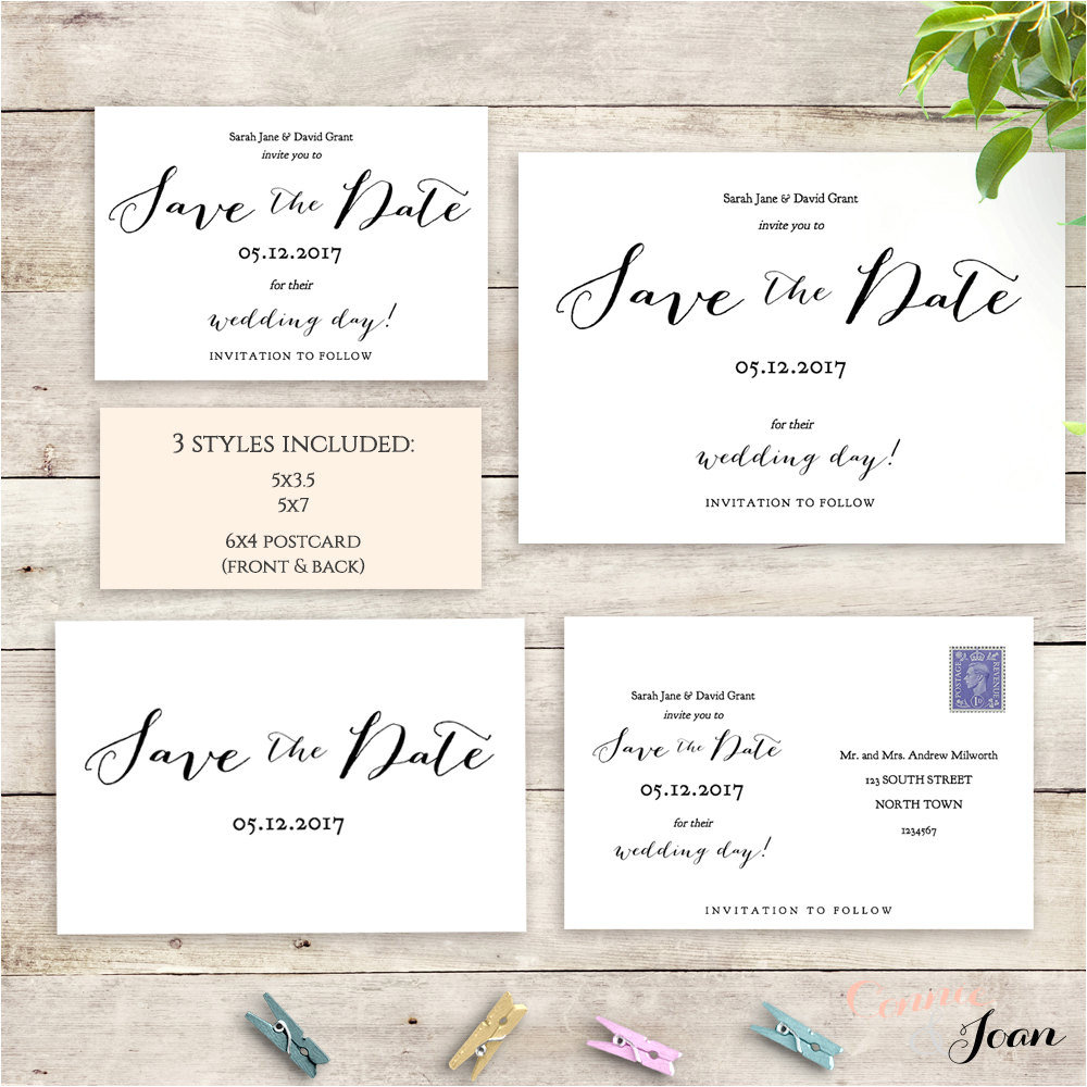 postcard save the date template 6x4