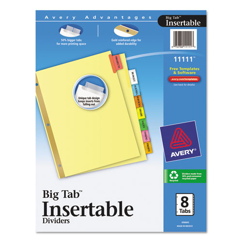 insertable big tab dividers 8 tab letter ave11111